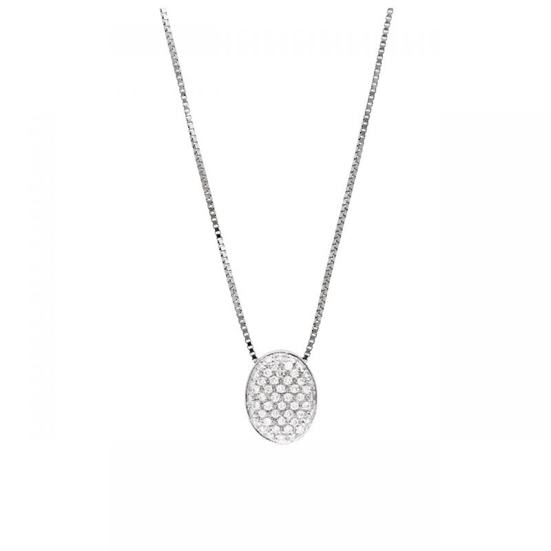 Collana oro bianco con pendente e diamanti