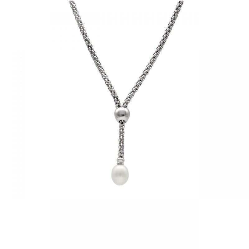 Collana Oro Bianco Fope con Perla