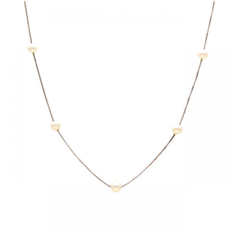 """Collana oro bianco con perle """"Oroflash"""""""