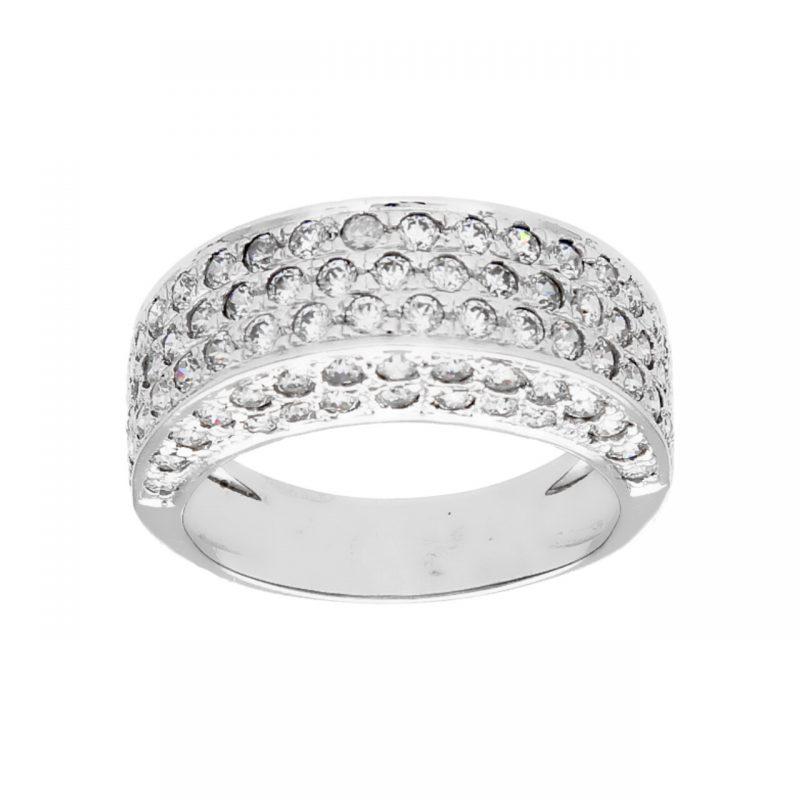 Weißgold Ring mit Zirkonen