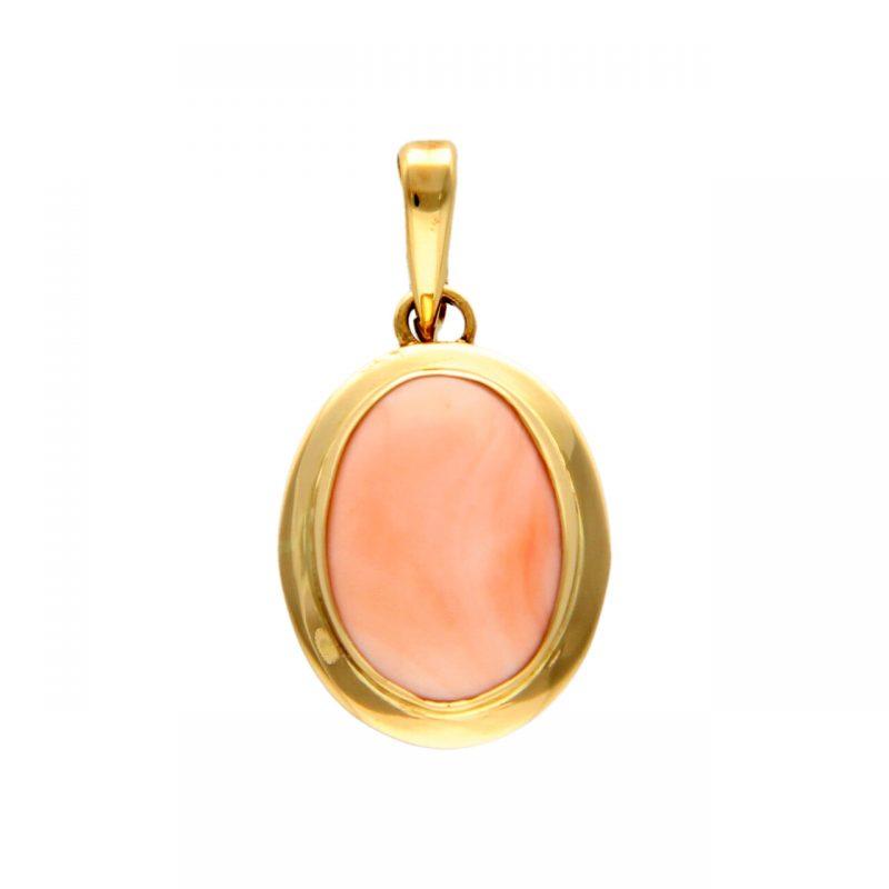 Ciondolo oro giallo con quarzo rosa