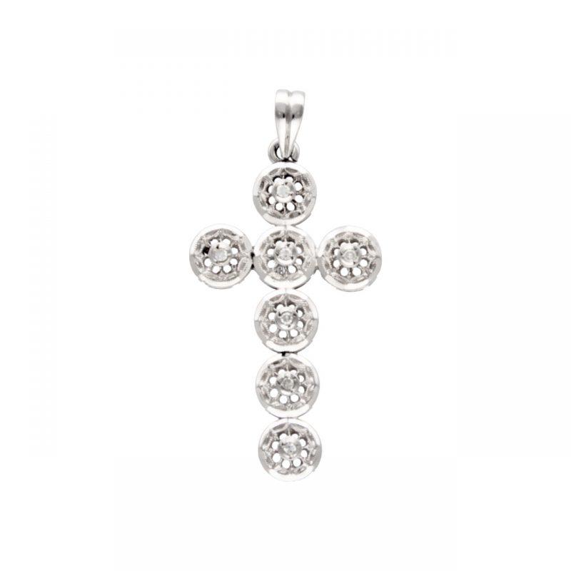 Ciondolo croce oro bianco con diamanti