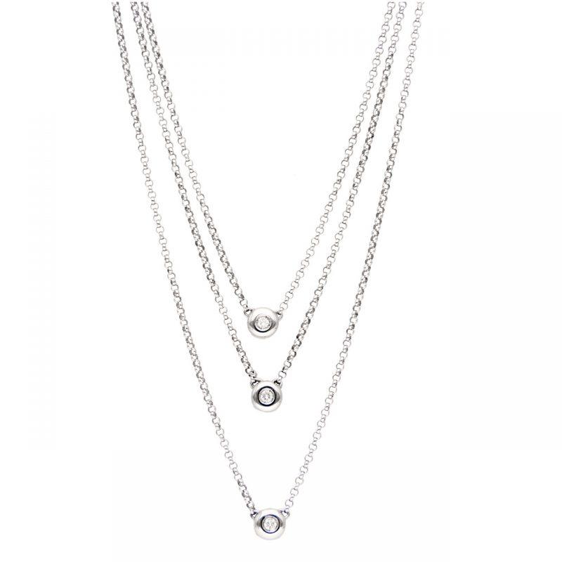 Cadena  oro blanco con tres puntos luz y diamantes