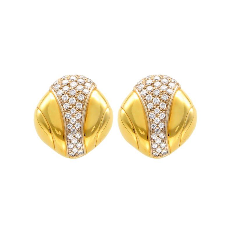 Earrings yellow gold with diamonds