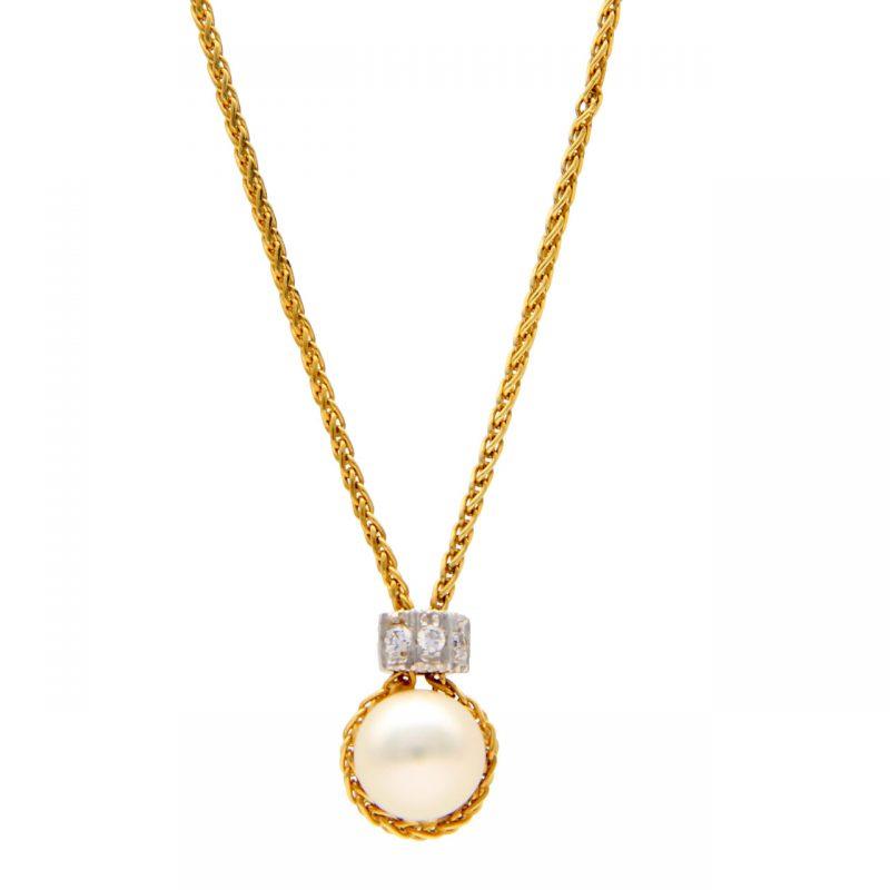 Collana oro giallo e bianco con perla e zirconi
