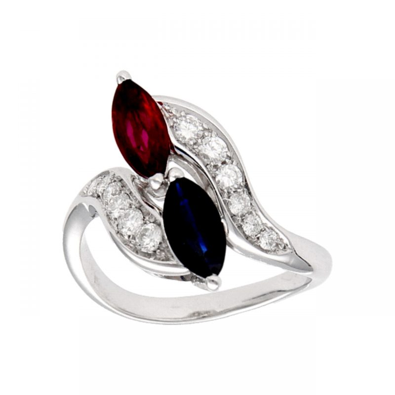 White gold ring with sapphires, diamonds and rubies