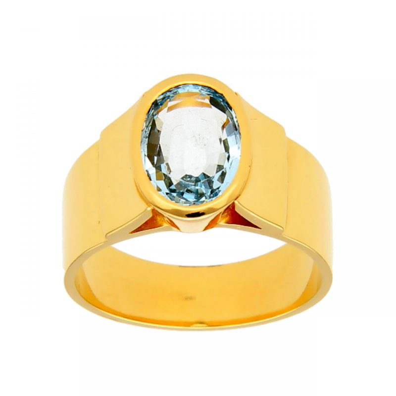 Ring yellow gold with aquamarine