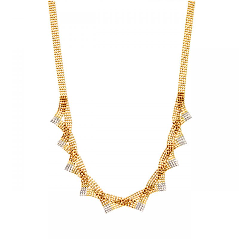 Flat necklace yellow and white gold