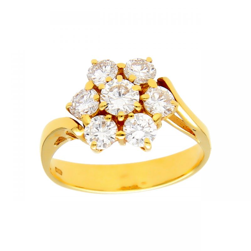 Ring yellow gold with diamond flower