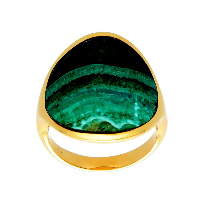 Yellow gold ring with a green stone