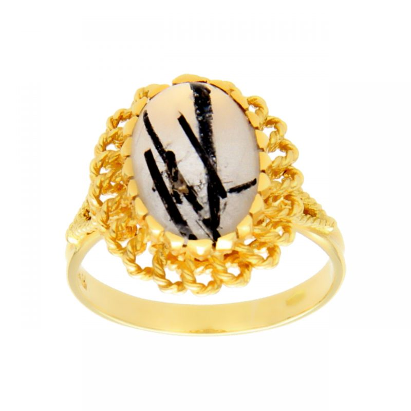 Yellow gold ring with synthetic stone