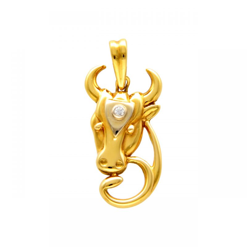 Bull Pendant yellow and white gold with diamond