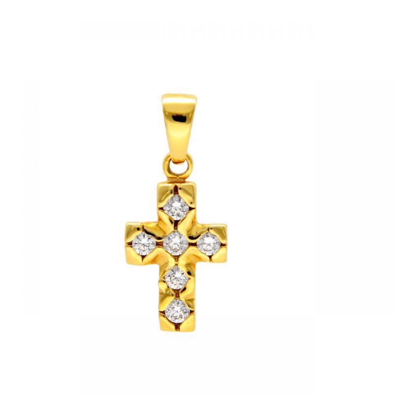 Ciondolo croce oro giallo e diamanti