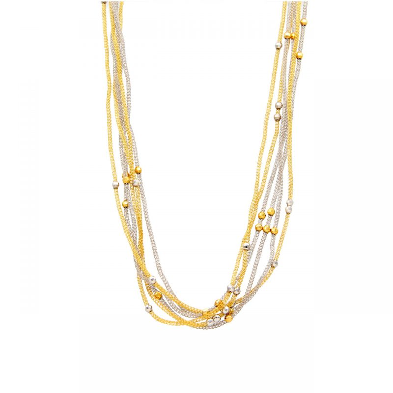 Filigree necklace white gold and yellow
