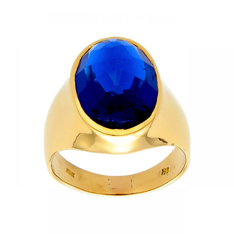 Yellow gold ring with blue stone