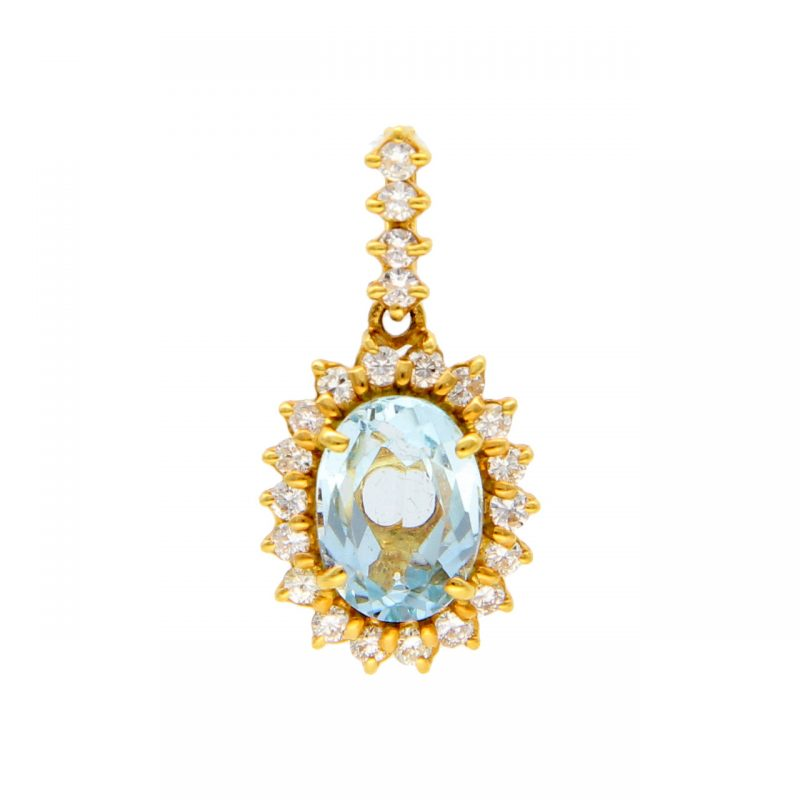 Pendant yellow gold with topaz and zircon