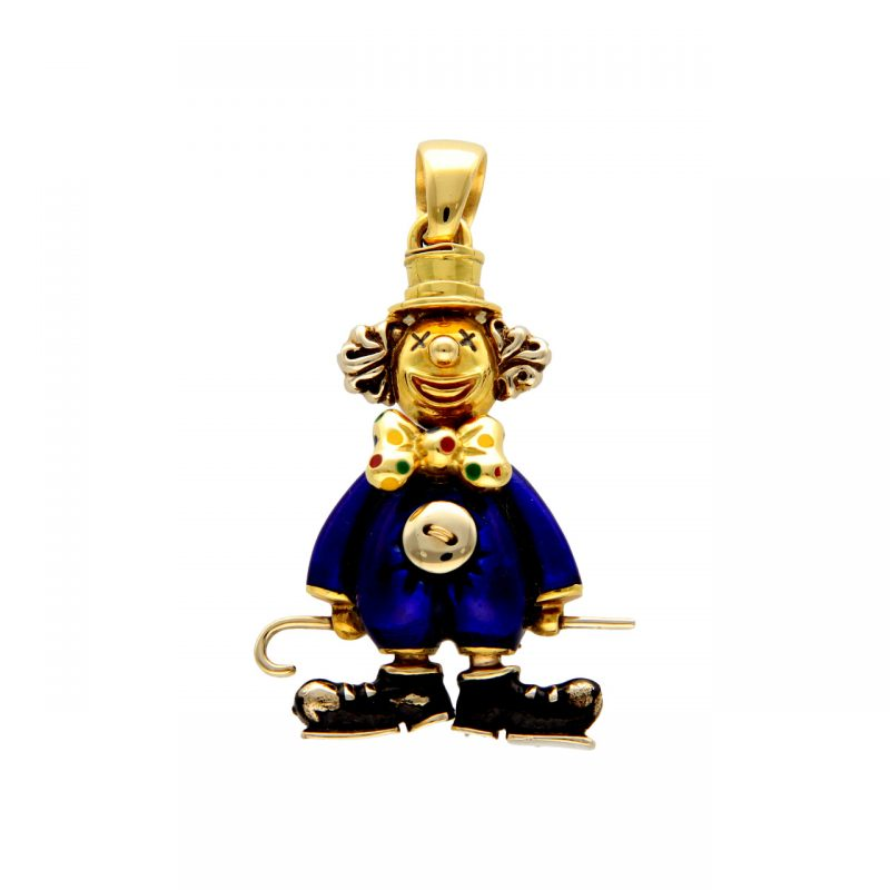 Pendant clown yellow and white gold