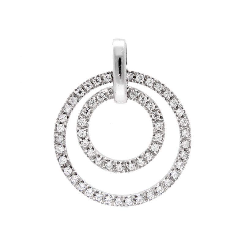 Circle pendant white gold and zircons