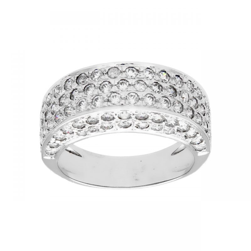 White gold ring with zircons