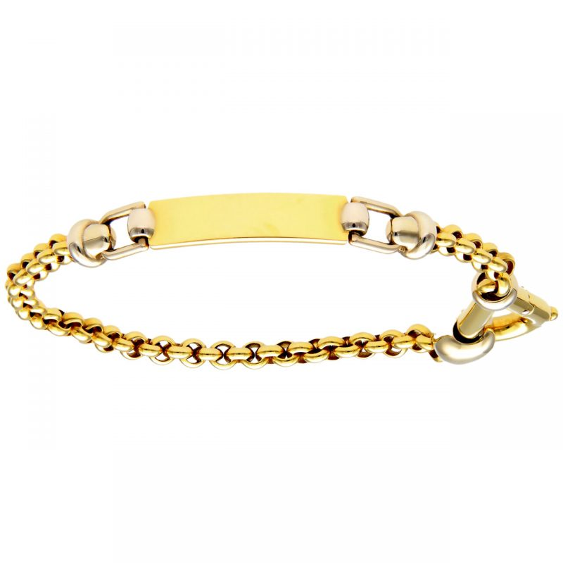 Bracelet white and yellow gold with plaque