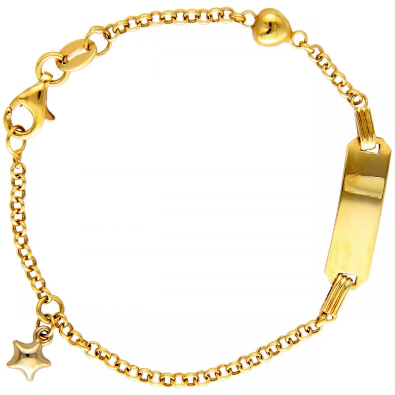 Bracelet yellow and white gold with heart and star