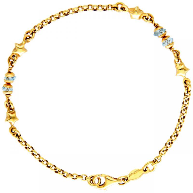 Pulsera oro amarillo con estrellas y cuarzo