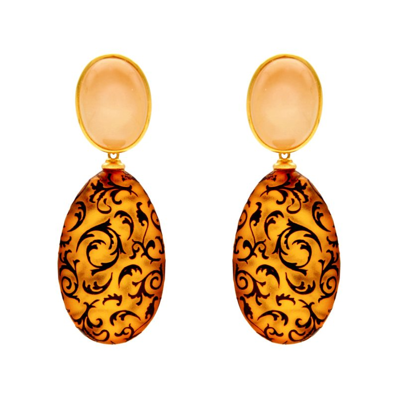 Earrings yellow gold with quartz