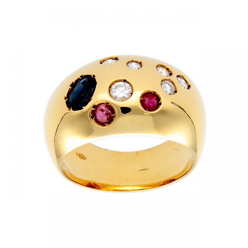 Anello oro giallo con zaffiro, rubini e diamanti