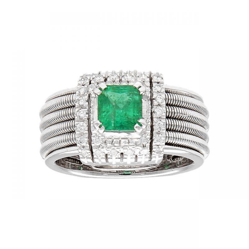 Anillo oro blanco con esmeralda y diamantes
