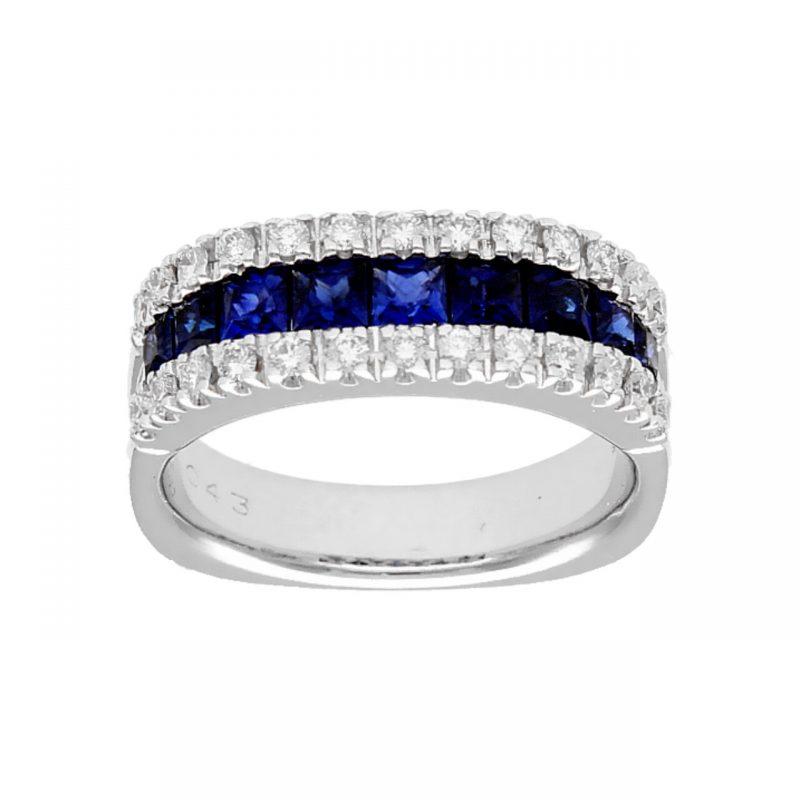 Anello oro bianco quadrato con zaffiri e diamanti
