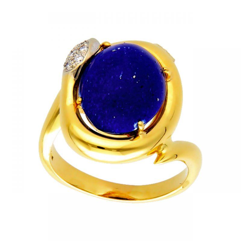 Ring aus Gelbgold mit Lapislazuli und Diamanten