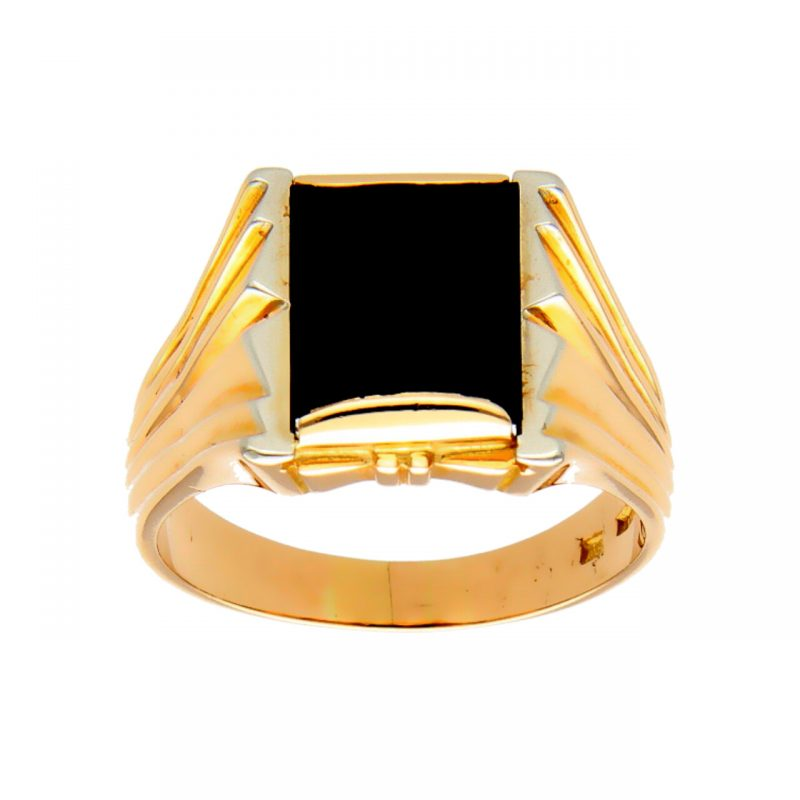 Ring yellow gold with onyx