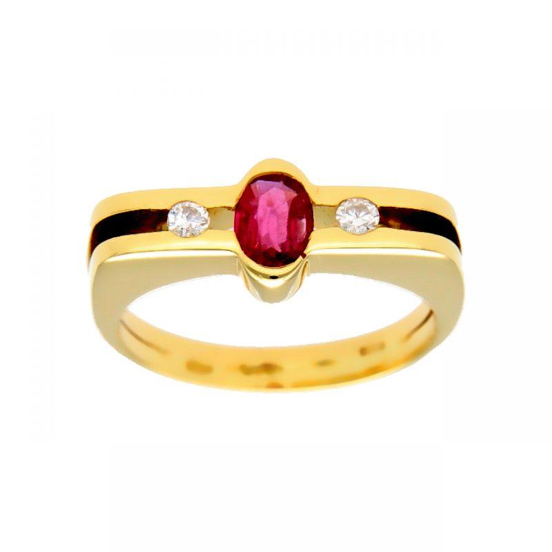 Anello oro giallo moderno con rubino centrale e diamanti