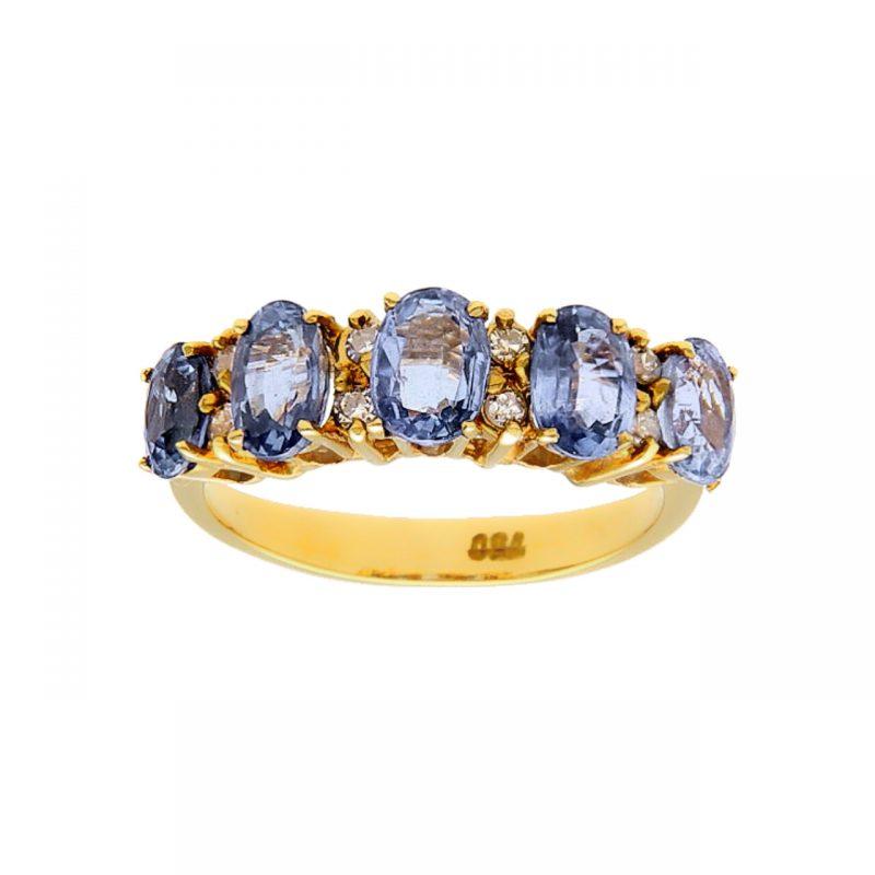Eternity Gelbgold Ring mit Saphiren und Diamanten