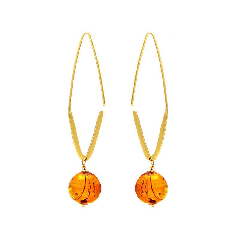 Earrings yellow gold with amber