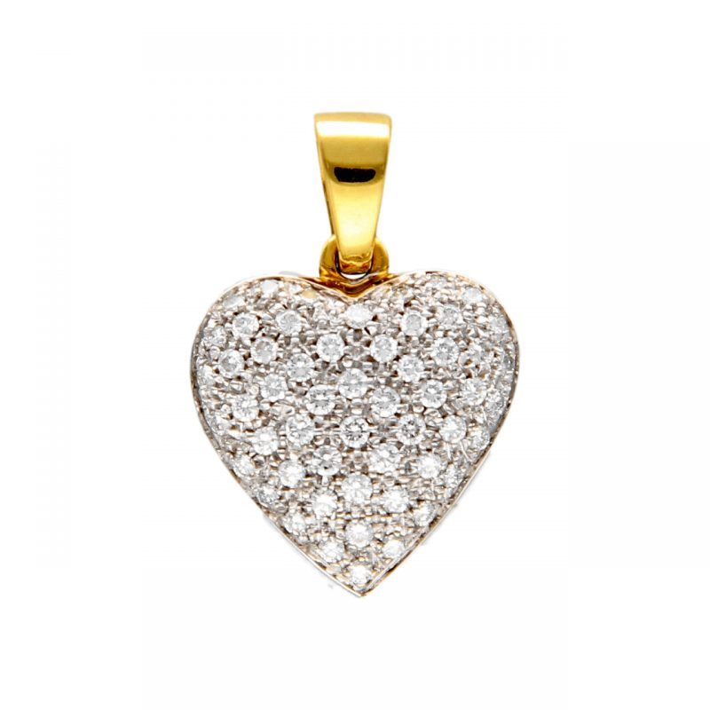 Heart Pendant yellow and white gold with diamonds