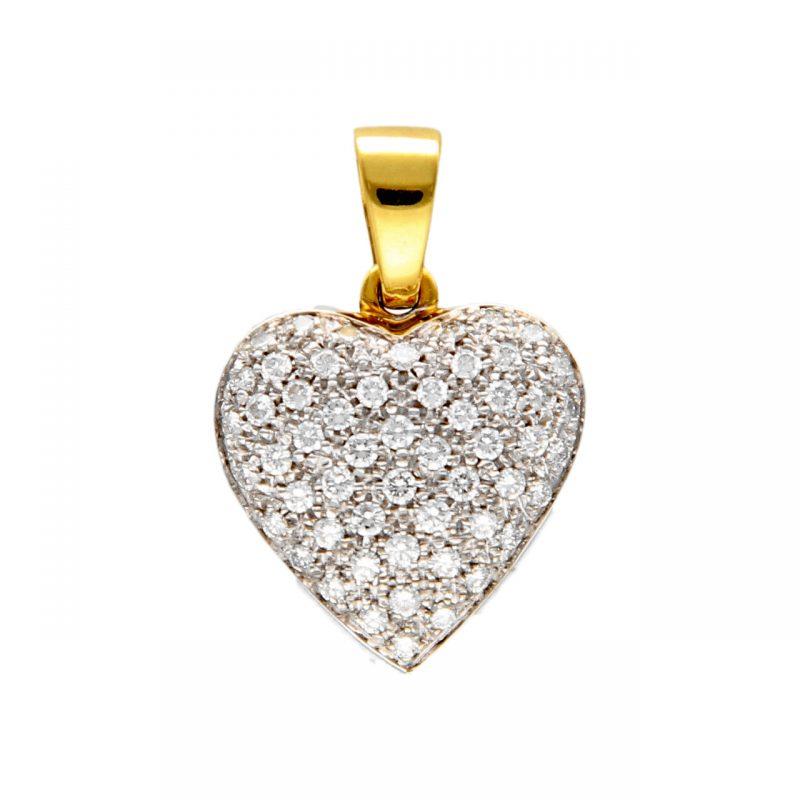 Gelb- und Weißgold Herz-Anhänger mit Diamanten