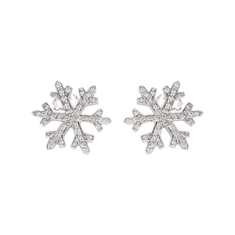 Snowflake earrings white gold