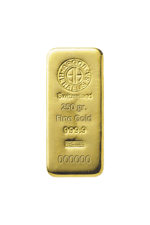 Gold bar 250 gr. ARGOR HERAEUS