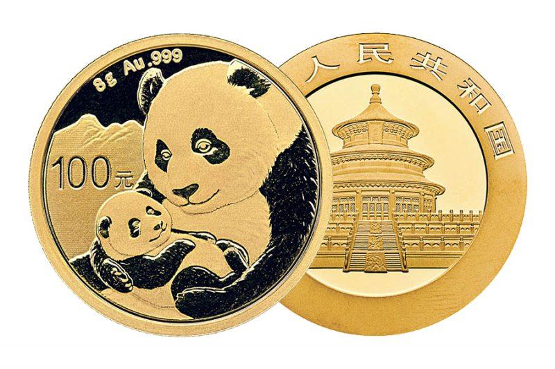 Gemischte Jahre – ¥ 100 panda china 8gr