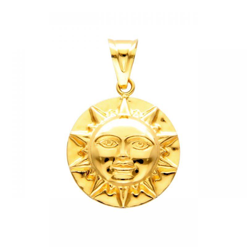 Sun pendant yellow gold