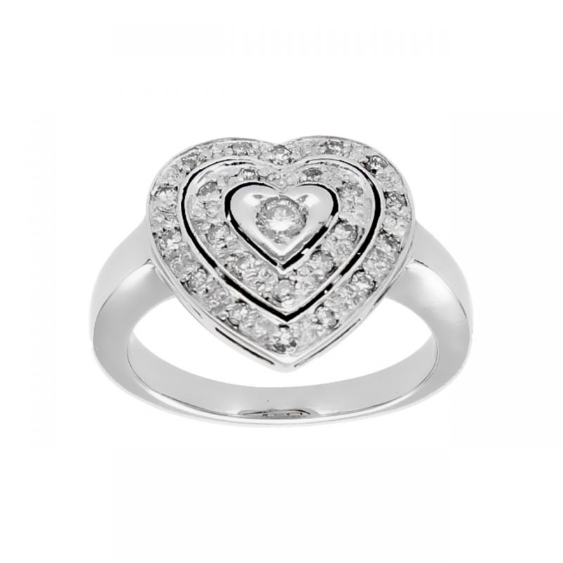 Pvg ring white gold with diamond heart