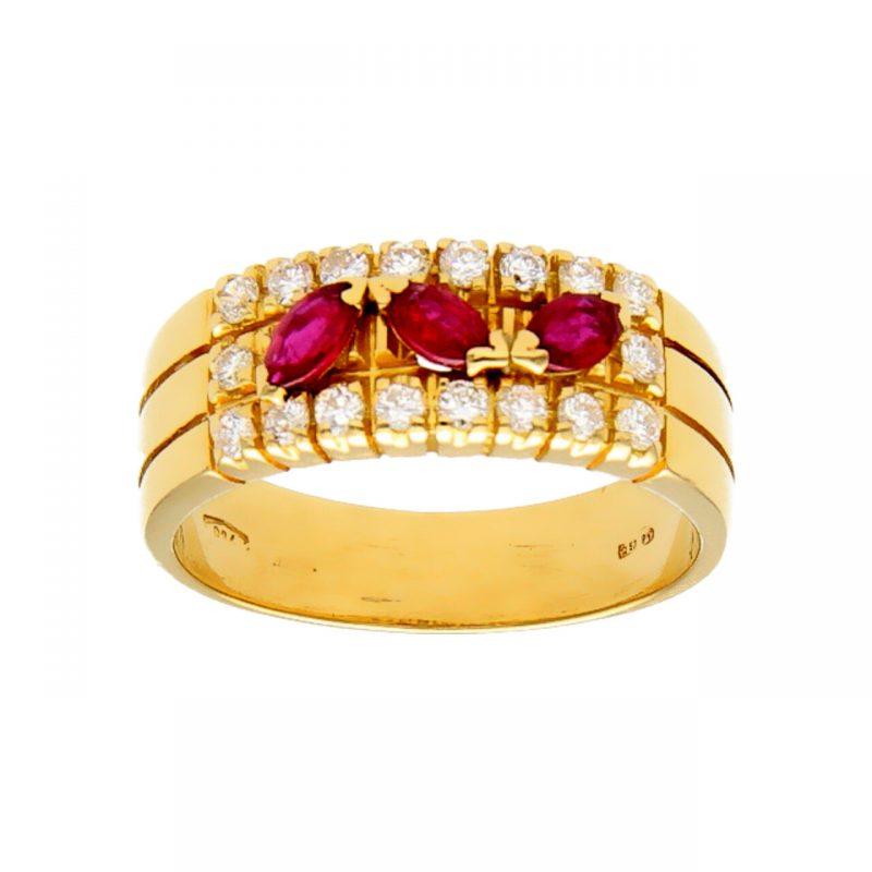 Anello oro giallo con rubini e diamanti