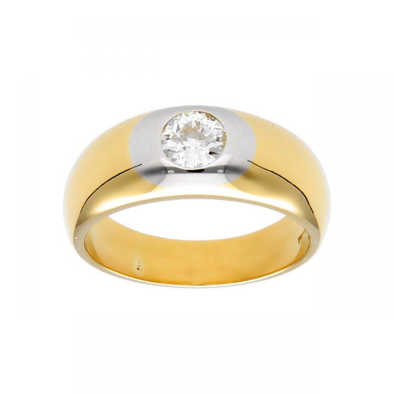 Anello due ori con diamante 0,60 ct