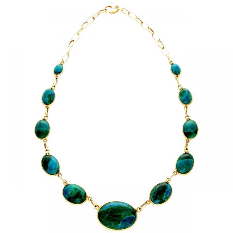 Gelbgold Halskette mit Malachit