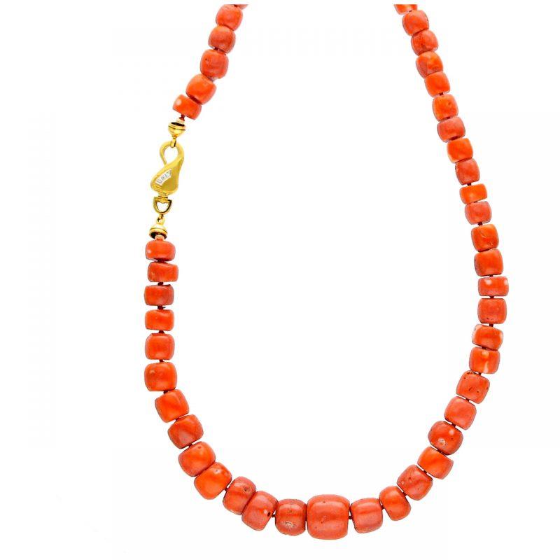 HalsKette aus roten Korallen und Gelbgold Verschluss mit diamanten