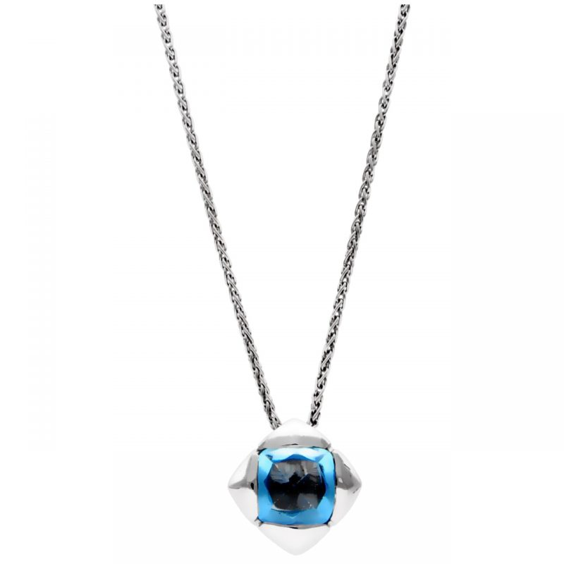 Necklace with pendant white gold and blue quartz