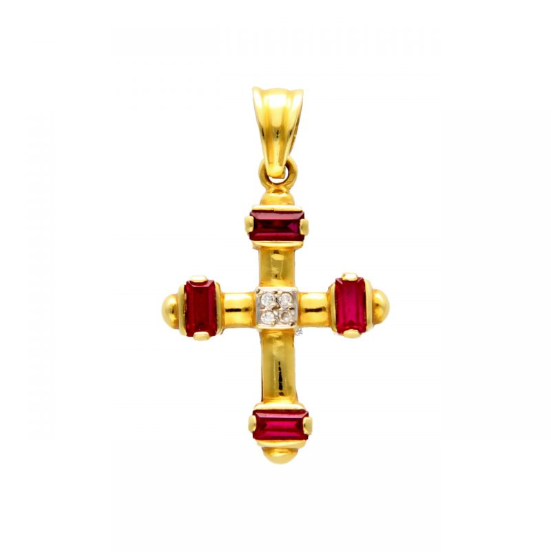 Cross pendant yellow gold with red gemstones and zircons