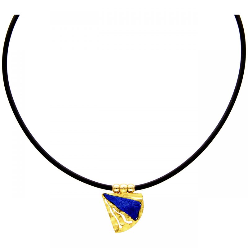 Cadena de caucho con colgante oro amarillo con lapislázuli