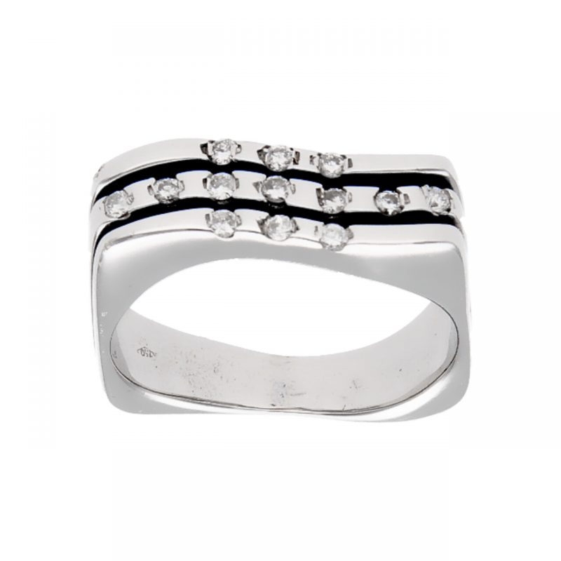Anello moderno in oro bianco e diamanti